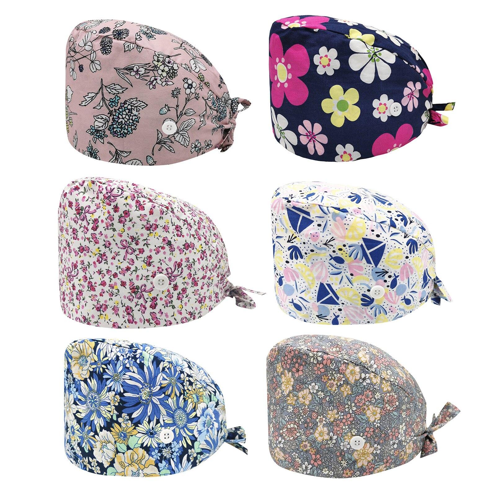 1PCS Nurse Hat Fashionable Temperament Cotton Adjustable Button Bandage Multiple Styles Print Leisur