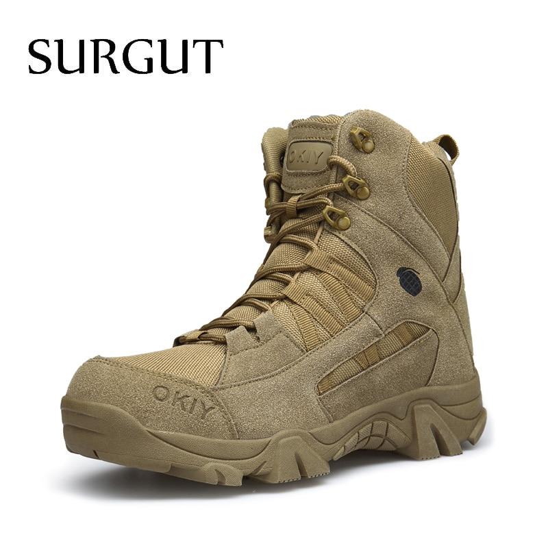 Surzone botas masculinas, sapatos masculinos modernos de outono e inverno, lace up, corte alto, casual botas táticas militares do deserto