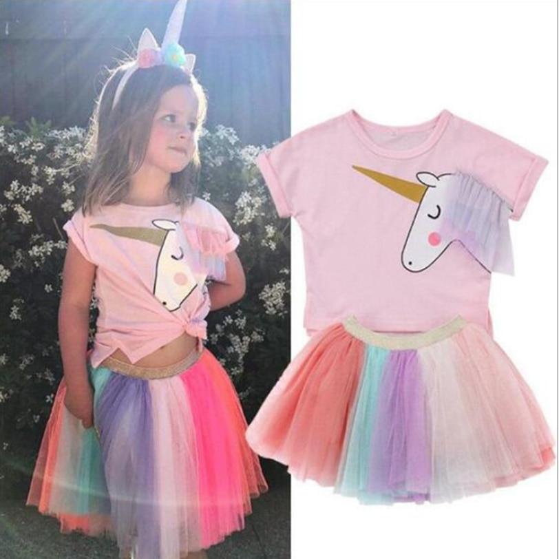 Vestido de verano para niña de 1 a 6T, vestido rosa de gasa de malla para niñas pequeñas, vestido de unicornio de manga corta, prendas de vestir hermosas a la moda para niñas