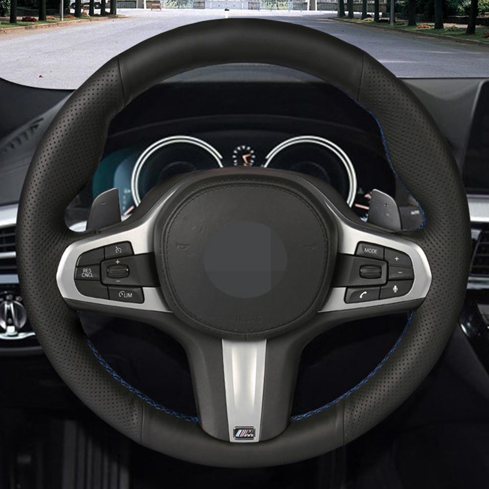DIY de cuero genuino protector para volante de coche para BMW M G30 G31 G32 G20 G21 G11 G12 G14 G15 G16 X3 G01 X4 G02 X5 G05 X7 G07