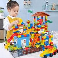Large Particle Slide Brinquedos Bricks Duplo City House Roof Building Blocks Sets Friends Castle Educational Toys for Children