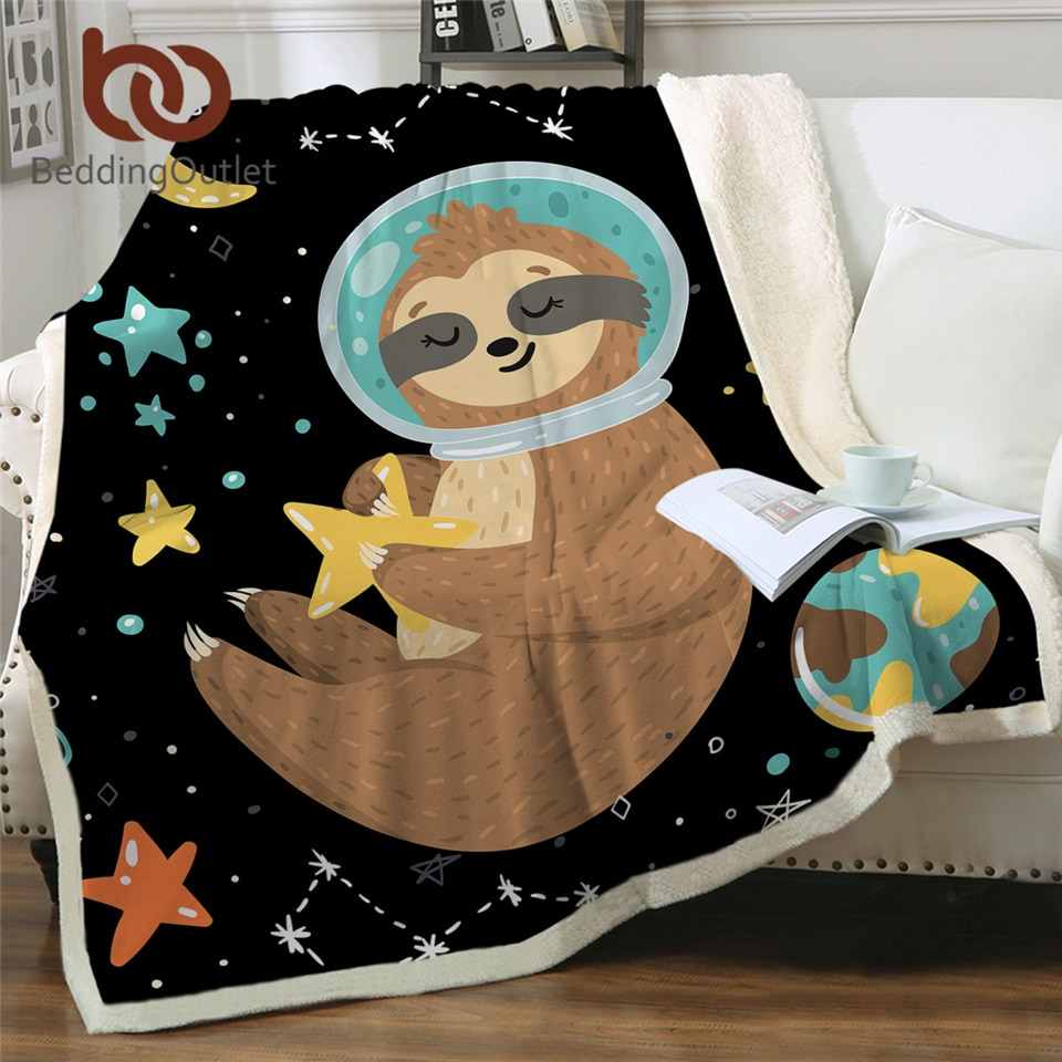 BeddingOutlet-بطانية سرير من القطيفة مع حيوانات كرتونية ونجوم وكواكب ونجمة والكون ومساحة خارجية من الصوف شيربا