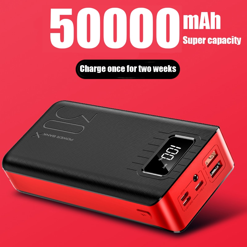 50000mAh Power Bank Outdoor Fishing TypeC Micro USB QC Fast Charging Powerbank LED Display Portable External Battery Charger