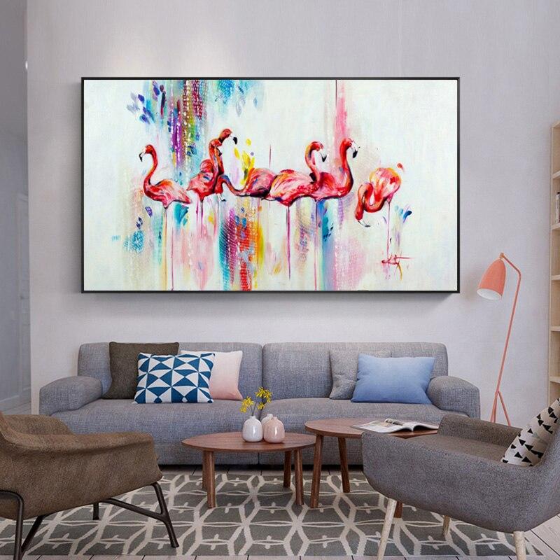 Картина маслом, скандинавские постеры с животными и принтом, Розовый Фламинго, Картина на холсте, настенные художественные фотографии для г...