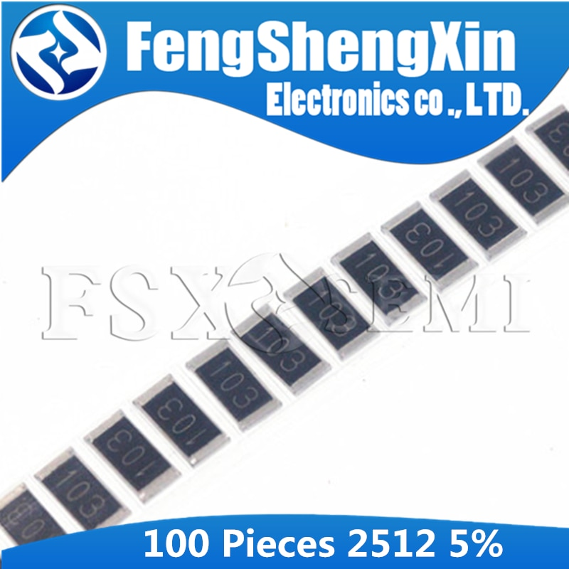 100 unids/lote 2512 resistencia smd tipo Chip 5% 0R-1M R001 R010 R100 R020 1R 10R 100R 1K 10K 100K 470R 47K 4,7 K 1M ohm