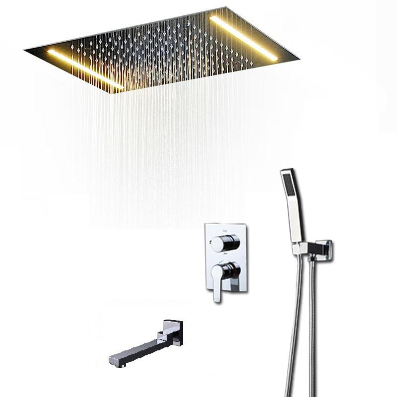 Sistema de ducha moderno, conjunto de cabezal de ducha LED de lluvia, válvula desviadora de agua caliente y fría, bañera de ducha de mano, masaje de boquilla