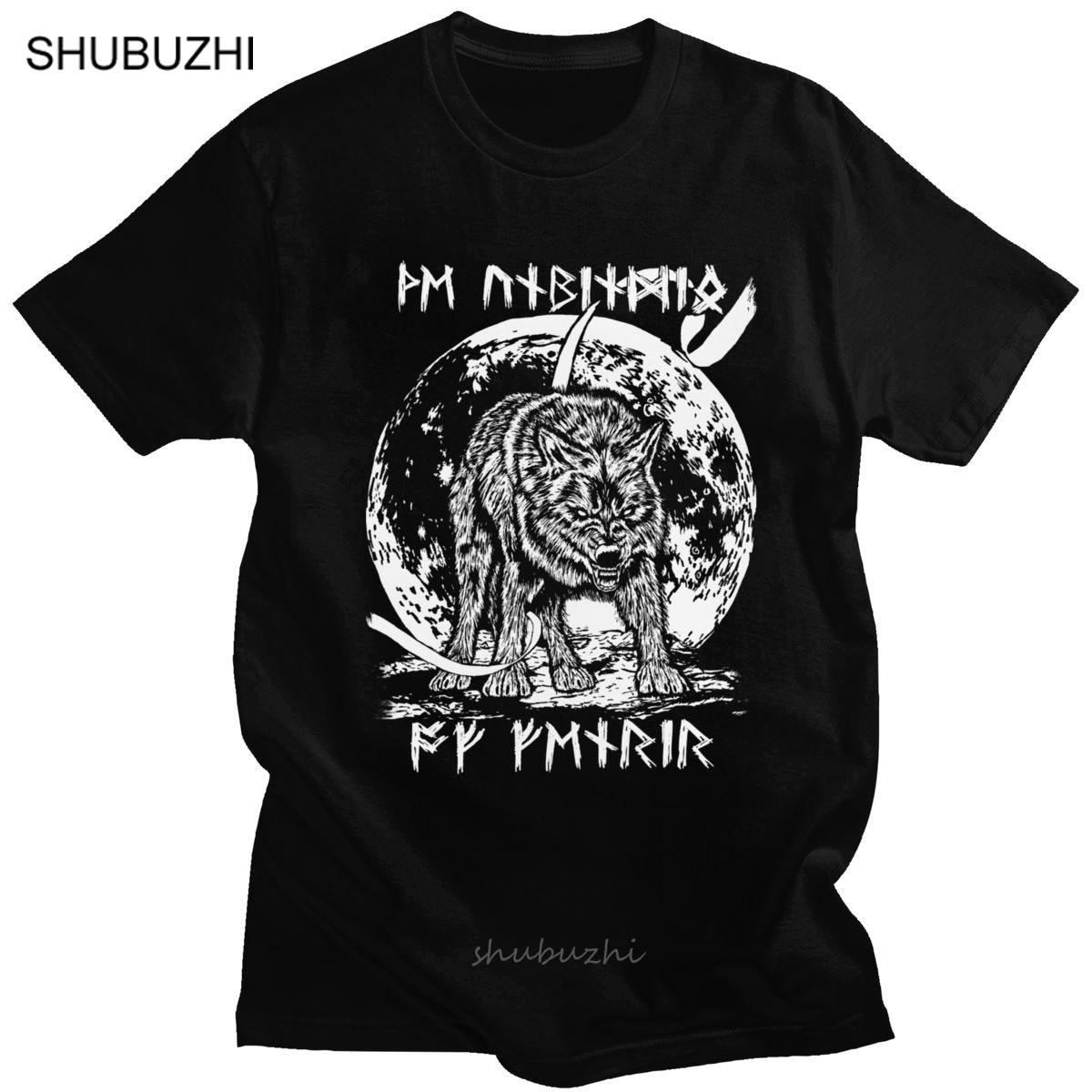 Camiseta vikinga Valhalla Odín, Camiseta de algodón con estampado de Luna para hombre, camiseta para el hijo de Fenrir Loki, Camiseta estampada de manga corta, Tops de vikingos