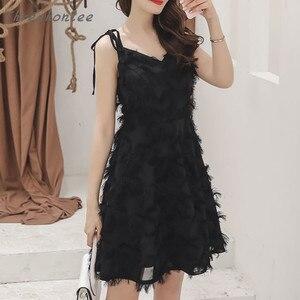 2021 Summer New Sexy Elegant Woman Solid Spaghetti Strap Dress V-neck Tassel High Waist Female Fashion Mini Dress Vestidos