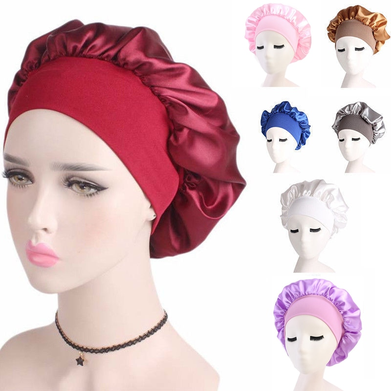 2020 Newly Women's Satin Solid Sleeping Hat Night Sleep Cap Hair Care Bonnet Nightcap For Women Men Unisex Cap bonnet de nuit