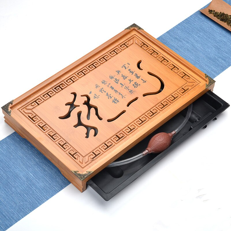[GRANDNESS] Teaboard Kung Fu Tea Set Drawer Type Bamboo Tea Tray Gongfu Tea Table Serving Tray 43*28*5cm Tea Board BIG SIZE