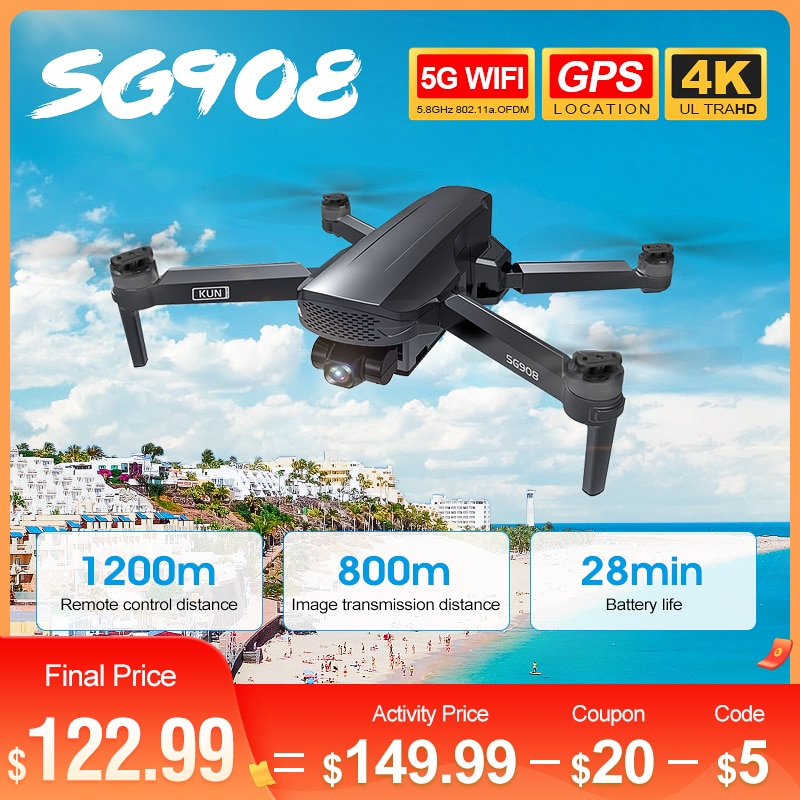 ZLL SG908 5G WIFI FPV GPS con cámara 4K HD Cardán de...