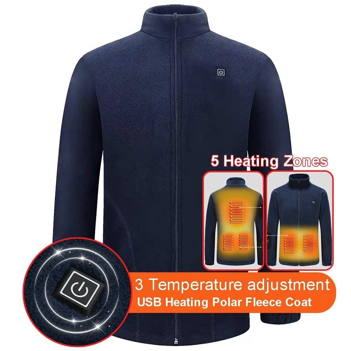 الرجال التدفئة الكهربائية البلوزات الخريف سميكة معاطف جاكيتات الصوف معاطف 5 مناطق التدفئة موضة ضئيلة معطف طويل تريكو