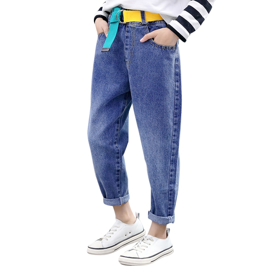 Джинсы джинсы с ремнем для девочек; Сезон весна осень; Детские джинсы Повседневная стильная детская одежда; 6, 8, 10, 12, 14 Джинсы    АлиЭкспресс