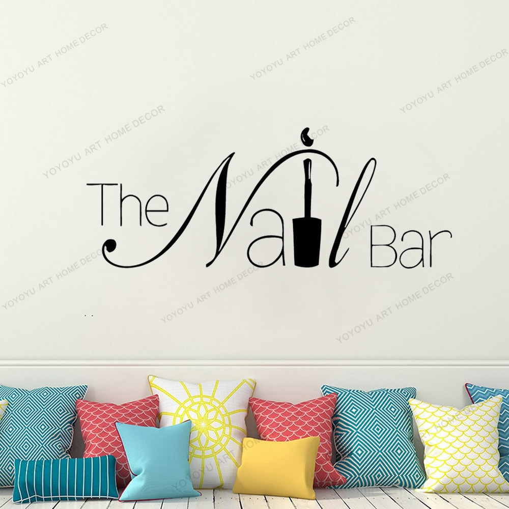 Manicure Pedicure Nail Bar Window Sticker Beauty Salon Spa Wall Decor nail salon equipment yw111