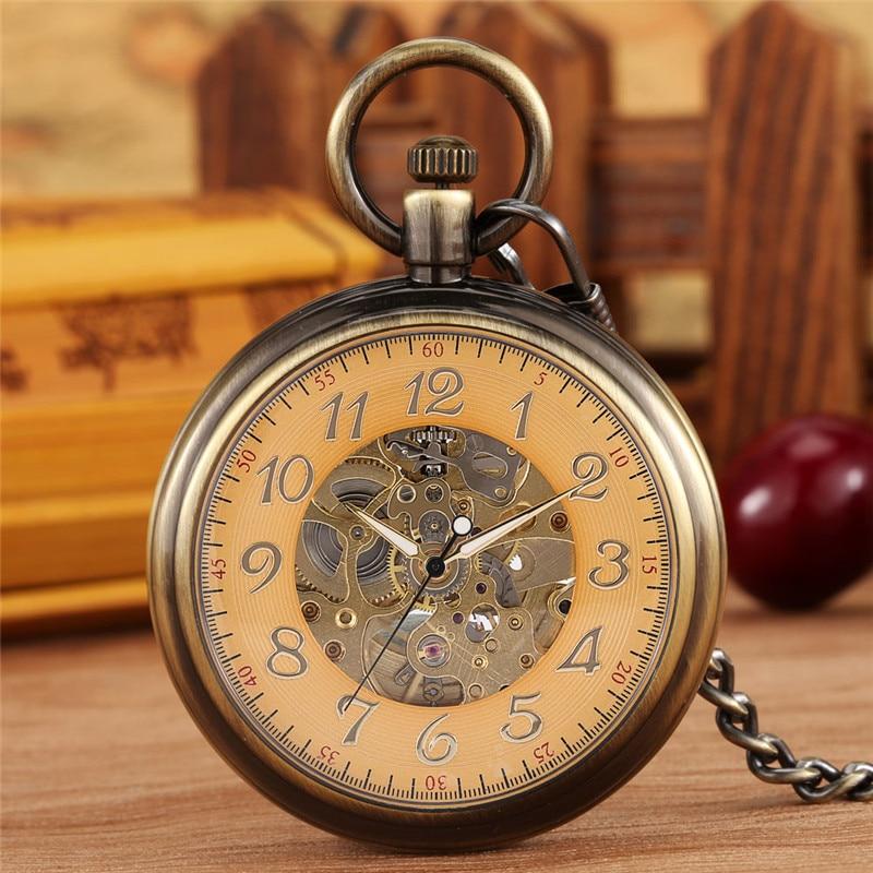 Antique Alloy Case Mechanical Pocket Watch Automatic Skeleton Watches for Men Women Luminous Hands Pendant Fob Chain Clock Reloj