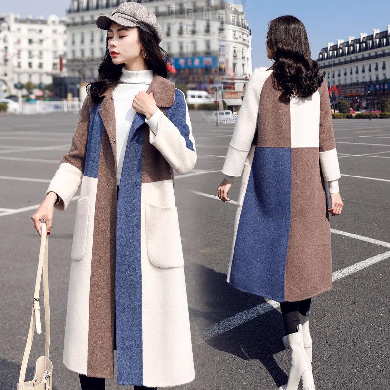 Abrigos de lana de Invierno para Mujer, abrigo de retales con botones...