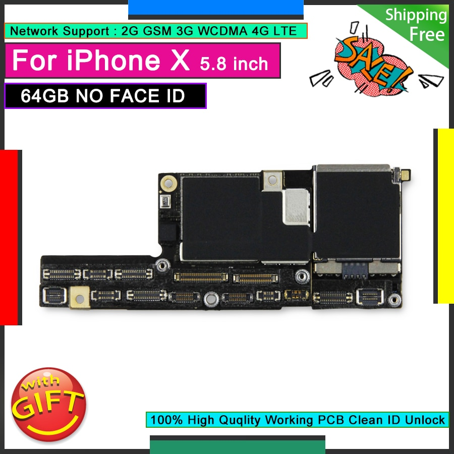 Promo Unlocked Original Motherboard For IPhone X 64GB NO Face ID Good Working Mainboard Free iCloud Logic Board without Face Function