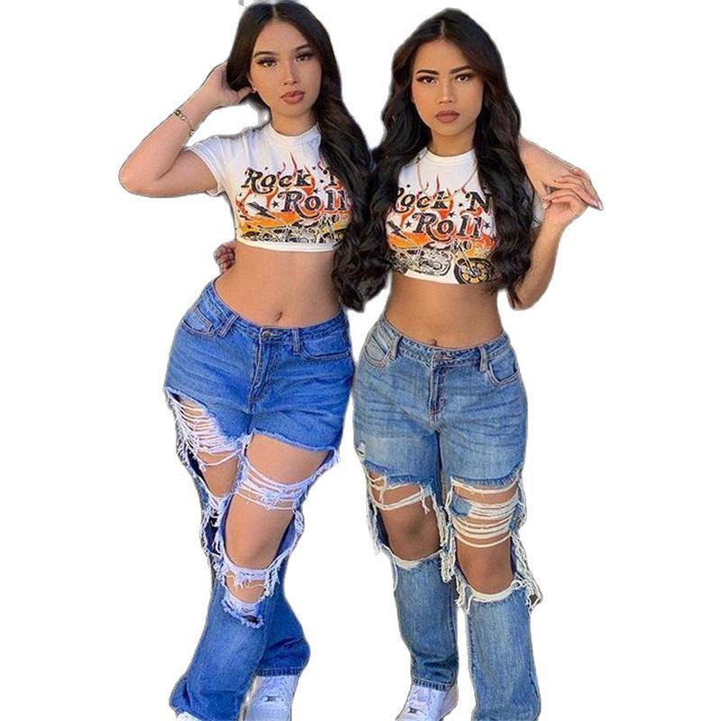Женские рваные джинсы в стиле High Street, американские свободные рваные джинсы-бойфренды с прямыми штанинами, высококачественные модные джинсы...