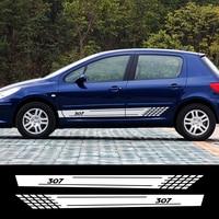 2PCS Auto Decoration Reflective Car Door Side Skirt Stripes Decals For Peugeot 307 Graphical Vinyl PVC Stickers Car Accessories