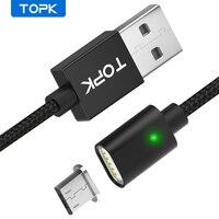 Micro USB кабель TOPK F-Line1, магнитный, в нейлоновой оплетке, для синхронизации данных и зарядки со светодиодным индикатором