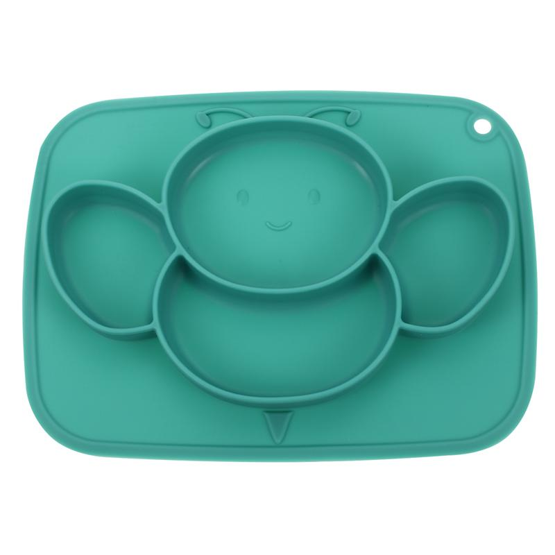 1Pc Suction Plate Silicone Cartoon Safe Divided Durable Mat Toddler Dish Suction Dish Tableware Baby Plate