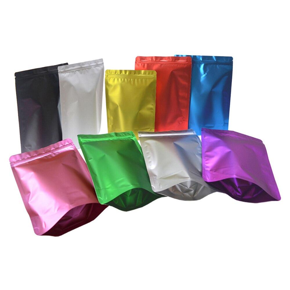 De colores mate calor sello a prueba Ziplock bolsas de embalaje de alimentos de pie de grado de papel aluminio Bolsa con cierre de cremallera bolsas 50 Uds