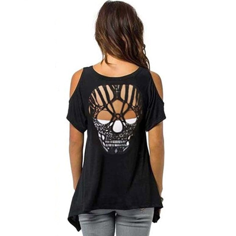 onseme women casual sleeveless t shirt yinyang cat print 3d tank tops cool flower skull tanks back hollow out vest casual tees Women Cold Shoulder Short Sleeve T-Shirt Cut Hollow Skull Backless Blouse Casual Tank Tops Ladies Backless Out Back Tanks Top