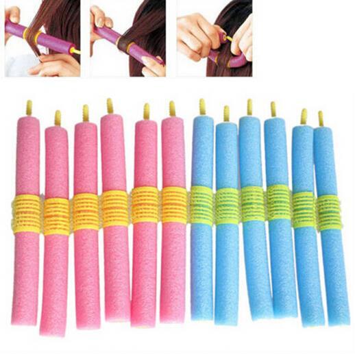 12PCS Soft Twist Soft Foam Bendy Hair Rollers Curlers Cling Strip
