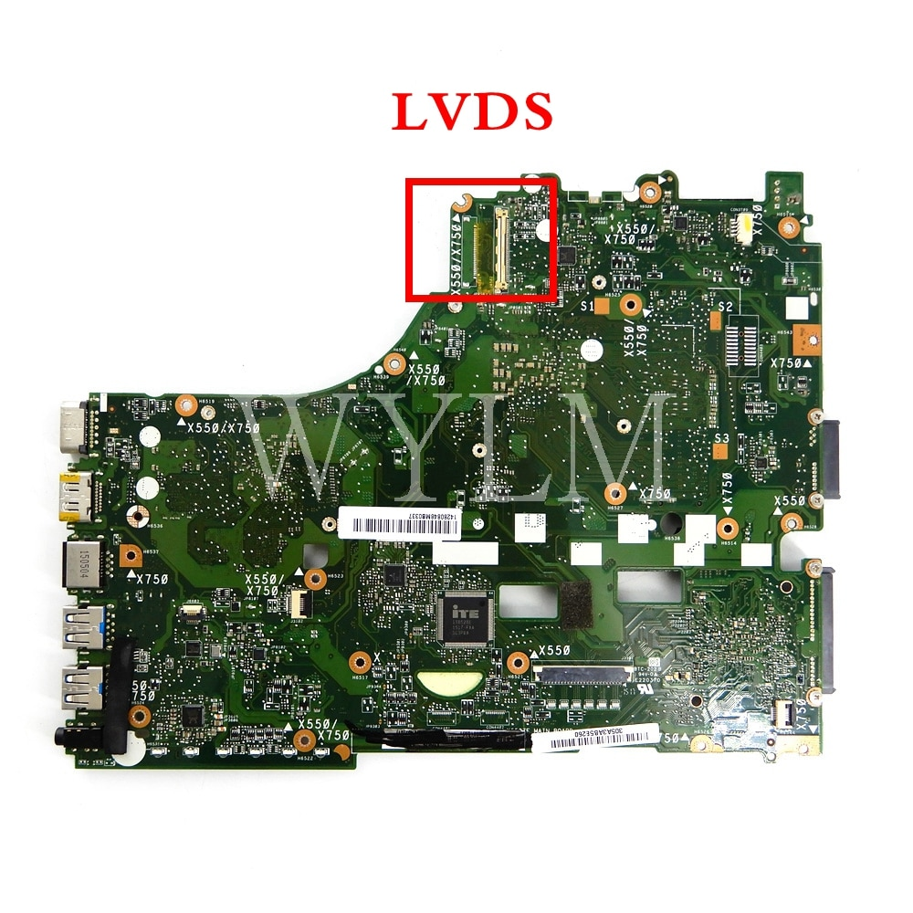 X550ZE FX7600 CPU LVDS interface PM mainboard For ASUS X550ZA X550Z VM590Z K550Z X555Z Laptop motherboard 90NB06Y0-R00050Tested