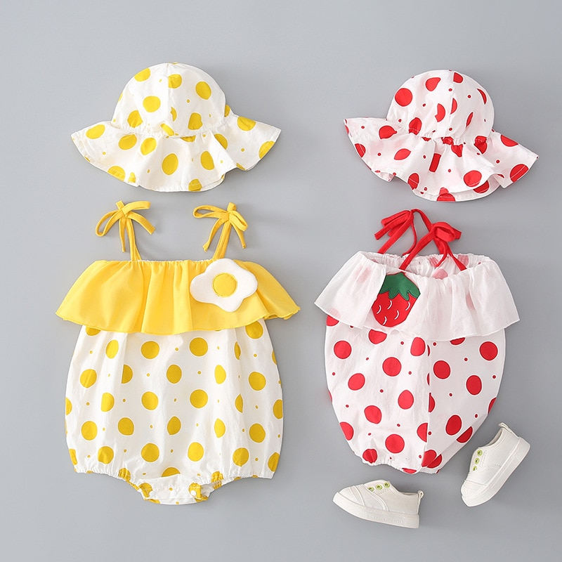 YG brand summer new lovely Hooded Baby suit baby girl sling one piece clothes newborn baby triangle