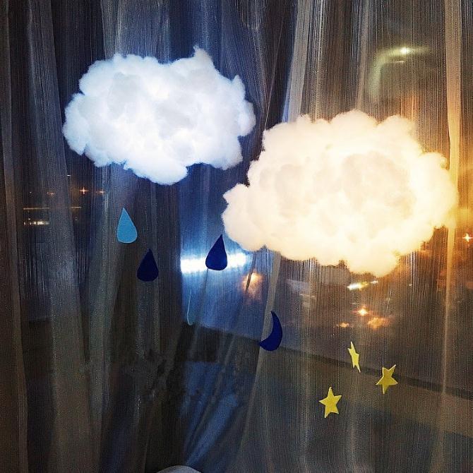 Luz de noche de nube hecha a mano DIY bonito Color puro decoración de dormitorio Simple moderna regalo de Festival luz de noche de alta calidad