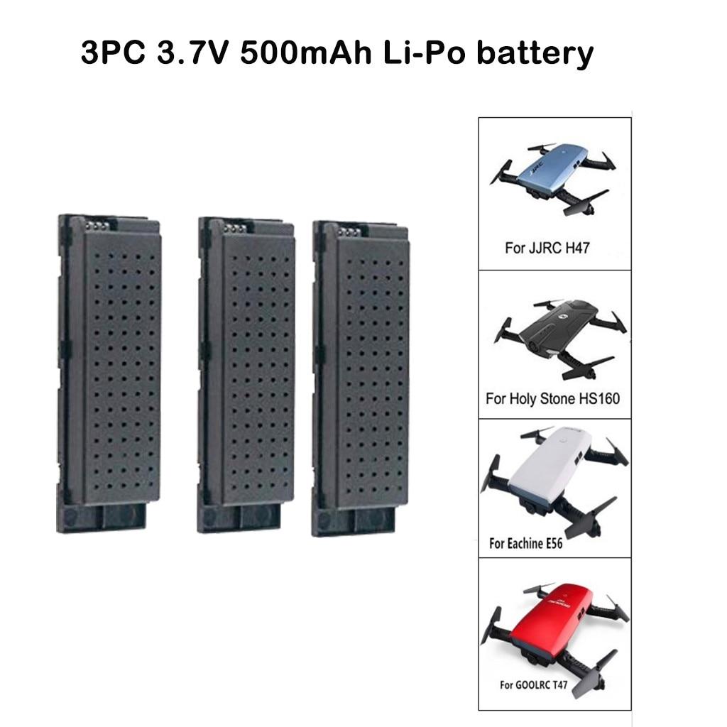 Batería de cuadricóptero li-po de 3,7 V, 500mah para JJ/RC H47 E56 T47 HS160 H47WH Drone Quadcopter 2020 3 piezas