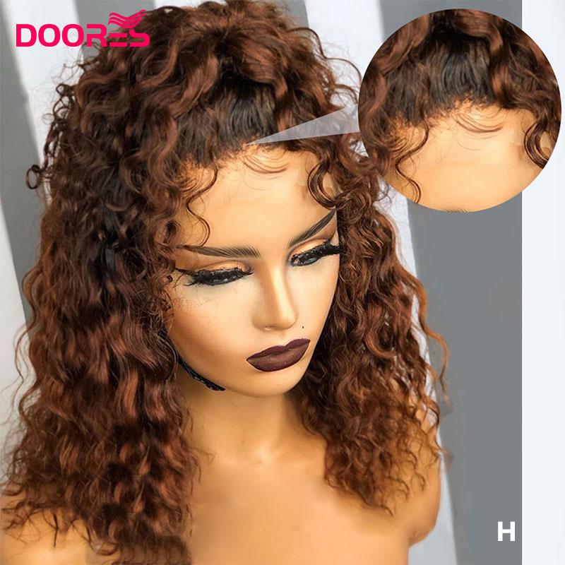 150 180 250 dichte Spitze Perücke 13x4 Spitze Front Menschliches Haar Perücken für Schwarze Frauen Braun Lockiges Ombre menschliches Haar Perücke Pre Gezupft H Remy