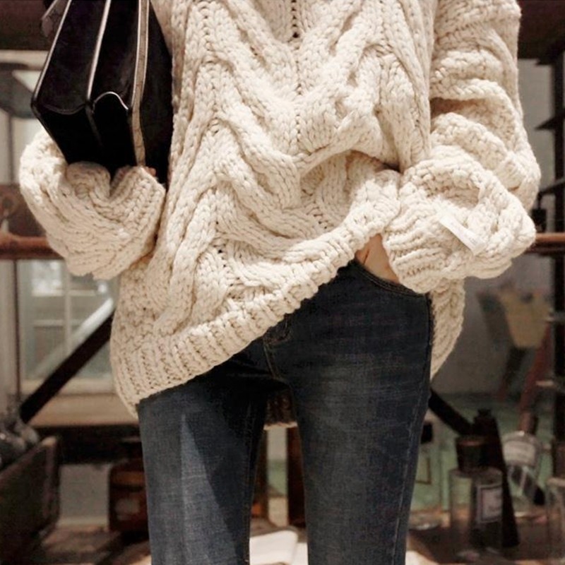 Pull Cotton Pullover Top Direct Selling Full Women Sweater 2020 Winter Thick Hand-thick Pin High-necked Pure Retro Long-sleeved enlarge