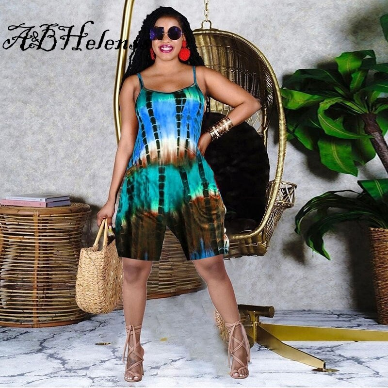 Summer 2021 New Playsuit Sexy Tie Dye Pocket Off Shoulder Backless Birthday Short Rompers for Women Clubwear Party Outfits