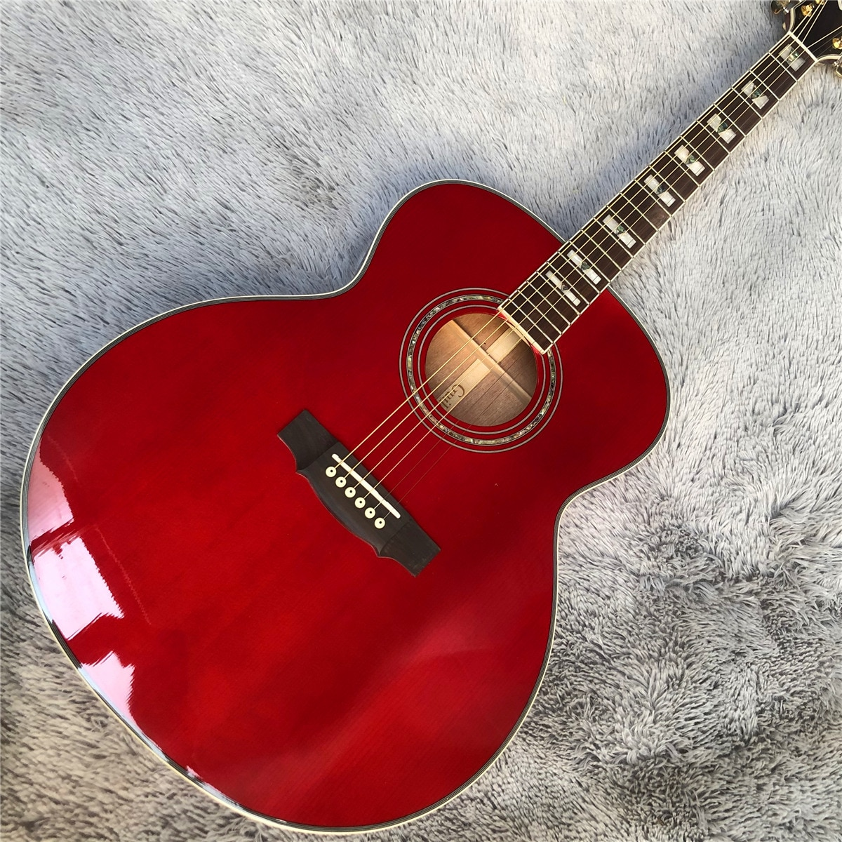 Professional 43 Inches Jumbo F50 Vintage Guitars Gloss Red Guild Acoustic Electric Guitar Free Shipping