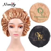 Nunify 20Pcs Custom Logo Satin Bonnet Women Big Size Silk Bonnet Sleep Night Cap Bonnet Pink Black P