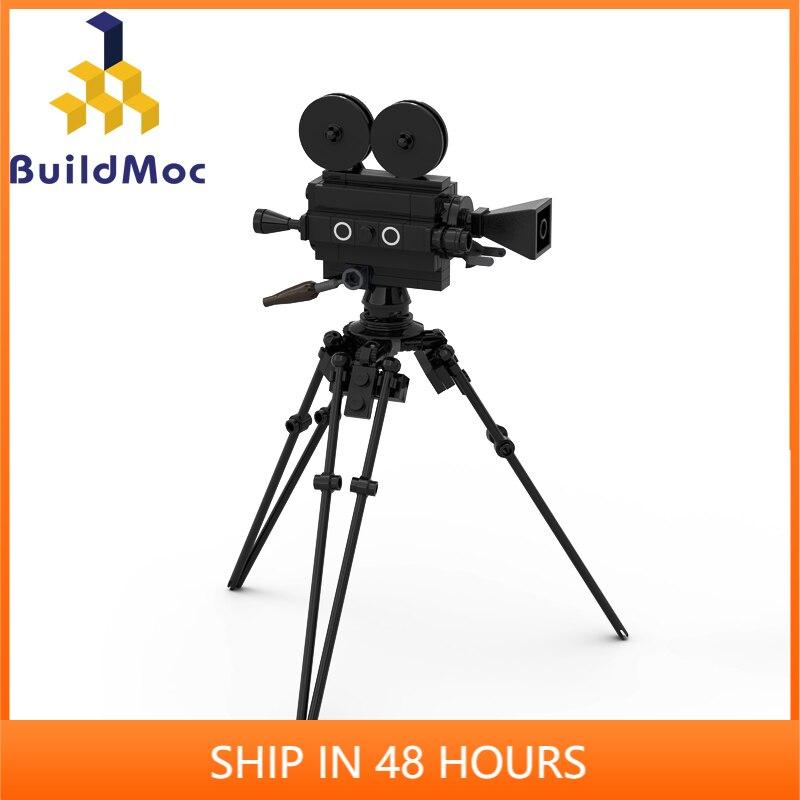 Nouveau BulidMOC ville blocs de construction à lancienne film caméra sacoche pour ordinateur portable téléphone caméra chaise briques jouet pièces C331