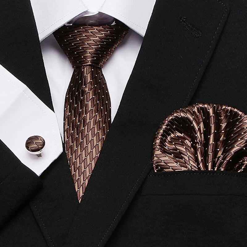New brown  men ties set Extra Long Size 145cm*7.5cm  Necktie 100% Silk Jacquard Woven Neck Tie Suit Wedding Party new white men ties set extra long size 145cm 7 5cm plaid necktie 100