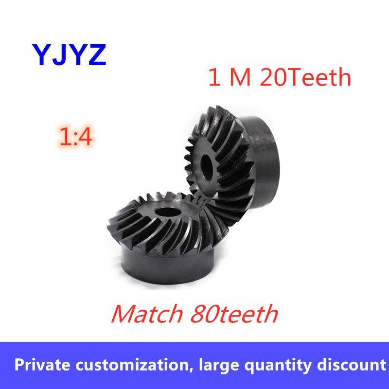 2 قطعة 8 مللي متر 1:4 شطبة والعتاد 1 معامل 20 الأسنان 90 درجة محرك تخفيف التروس الصلب المسمار حفرة M4 مباراة 80 الأسنان