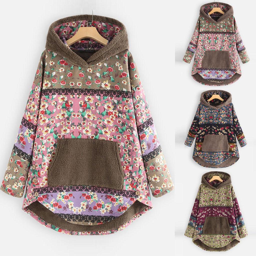 Chaqueta de abrigo de peluche para mujer, cortavientos para invierno, prendas de vestir cálidas, estampado Retro con capucha, bolsillos, abrigos Vintage de talla grande 5XL