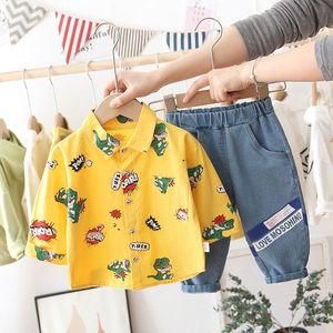 Spring Autumn Cotton Children Clothing Sets Dinosaur Print Shirt+Pants Jeans Children's Sets for Baby Boy Cute Kids 2pcs Suit