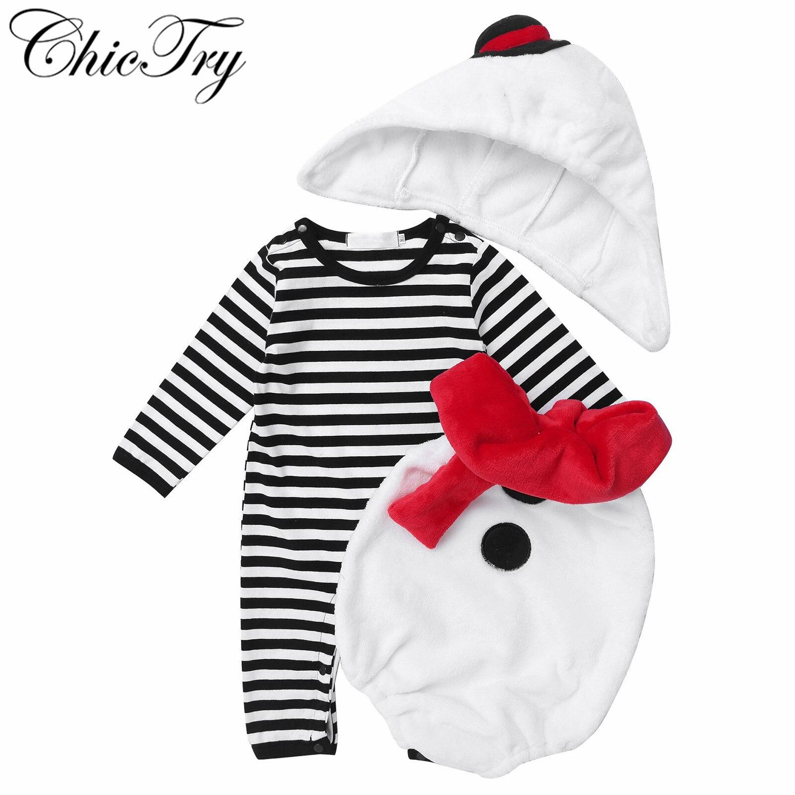 Christmas Baby Clothing Infant Baby Boys Girls Christmas Snowman Fleece Hoodie Romper Jumpsuit+Scarf