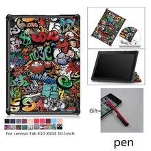 Coque magnétique à rabat mince Coque Coque support en cuir pour Lenovo Tab E10 E 10 X104 TB-X104 10.1 tablette + stylo