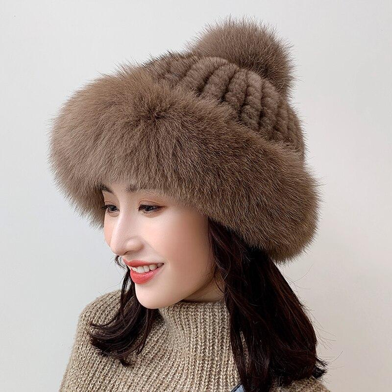 Lantafe Winter Hat Winter Hats For Women Hat Warm High Quality Fur Ball Decoration Real Fur Knit Cap Fluffy Hair Pretty Cute