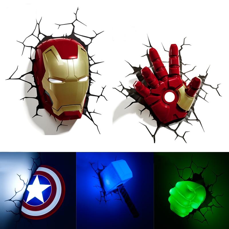 Acecorner-مصباح حائط LED ثلاثي الأبعاد إبداعي للأطفال ، Marvel ، Avengers ، Iron Man ، Hulk ، Captain America ، ضوء الليل ، هدية الكريسماس للأطفال