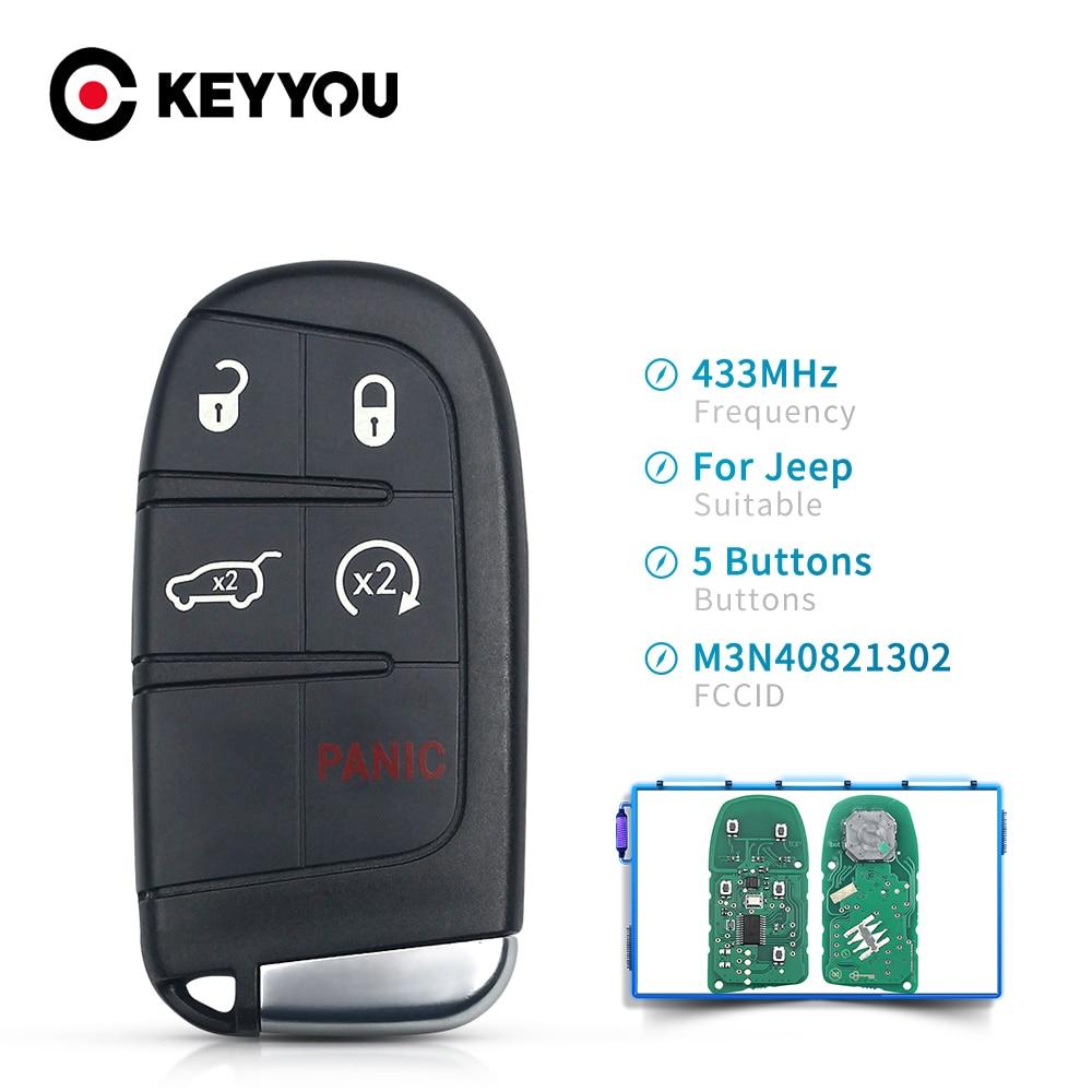 Mando a distancia inteligente KEYYOU M3N-40821302 M3N40821302 Fob 433MHz mando a distancia de coche para JEEP Grand Cherokee 2013-2018 4 + 1 botones