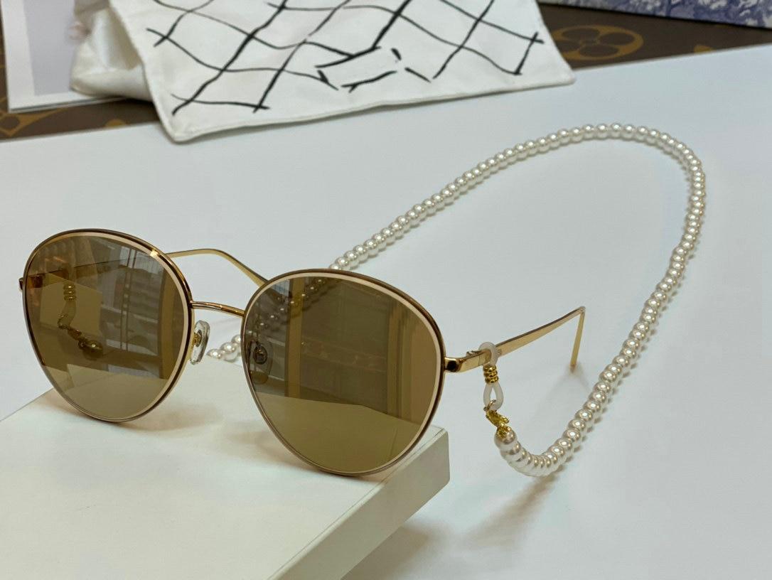 Новинка 2021 солнцезащитные очки Роскошные Брендовые женские модные очки с жемчугом ожерелье Золотые очки круглые солнцезащитные очки Бренд...