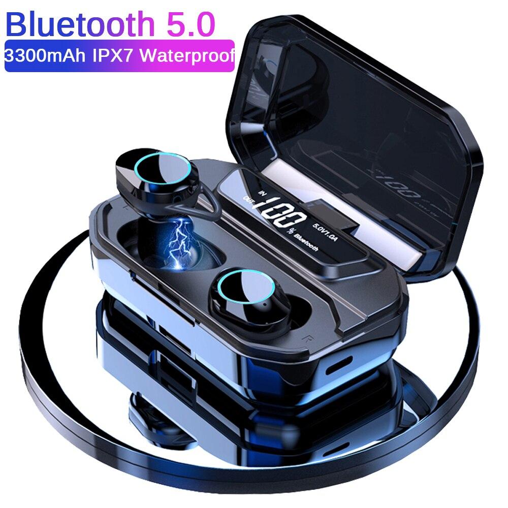 TWS 5,0 Bluetooth 6D auriculares estéreo auriculares inalámbricos deporte IPX7 auriculares Bluetooth 3300mAh pantalla LED banco de energía