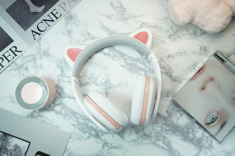 Moecen-سماعة رأس لاسلكية بتقنية البلوتوث للفتيات ، وسماعة رأس استريو hi-fi مع آذان القط ، وموسيقى ، وألعاب ، أبيض ، عصري ، جديد